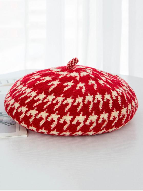 buy Printed Houndstooth Painter Beret Hat - RED