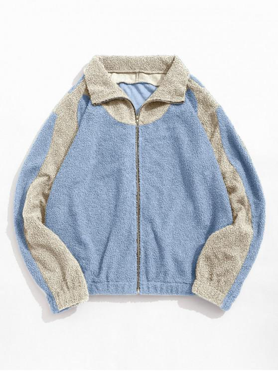 outfit ZAFUL Color Blocking Panel Fluffy Teddy Jacket - MULTI-B L