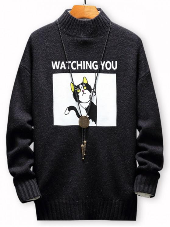 trendy Cartoon Cat Letter Printed Pullover Sweater - BLACK M
