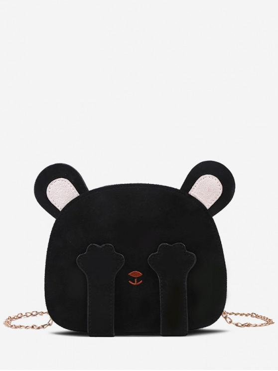 sale Bear Face Chain Shoulder Bag - BLACK