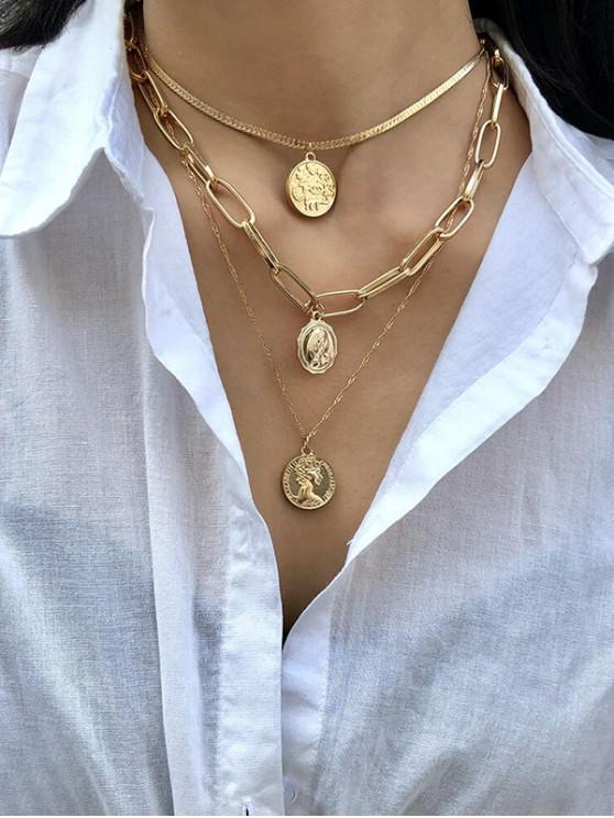 fancy Multi Layered Portrait Chain Necklace - GOLD