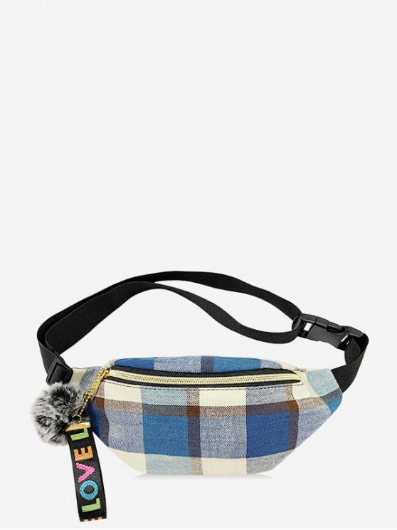 sale Crossbody Plaid Pattern Pockets Bag - BLUE KOI