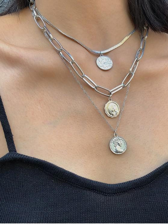 lady Multi Layered Portrait Chain Necklace - SILVER