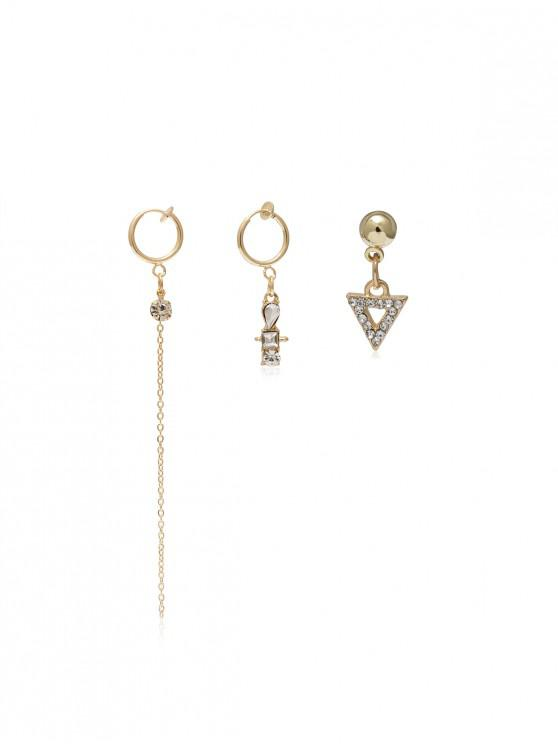 shops Rhinestone Long Chain Ear Clip Earring Set - GOLD