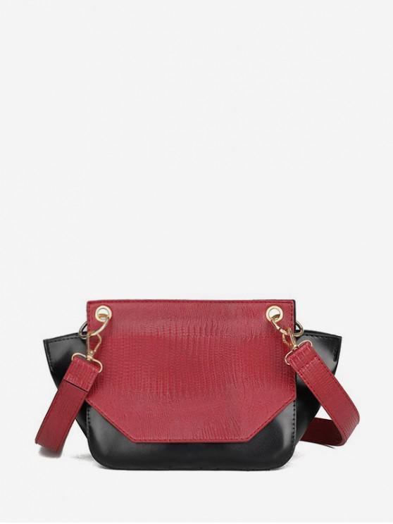 trendy Jointed Cover Shoulder Bag - RED WINE