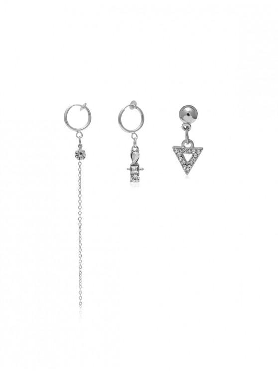 affordable Rhinestone Long Chain Ear Clip Earring Set - SILVER