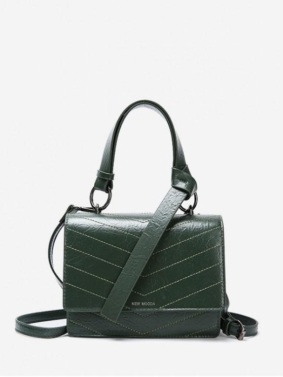 women's Square Lined Shoulder Bag - DEEP GREEN