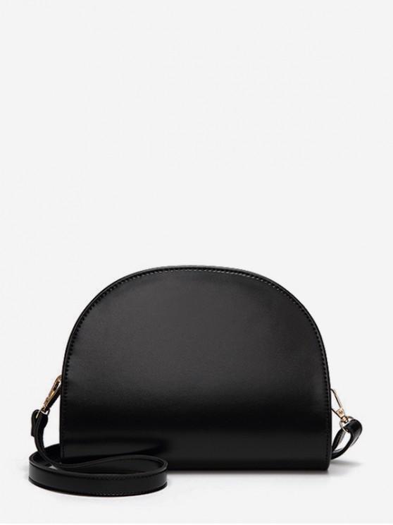 Semicercul lucioasă umăr geanta din piele - Negru