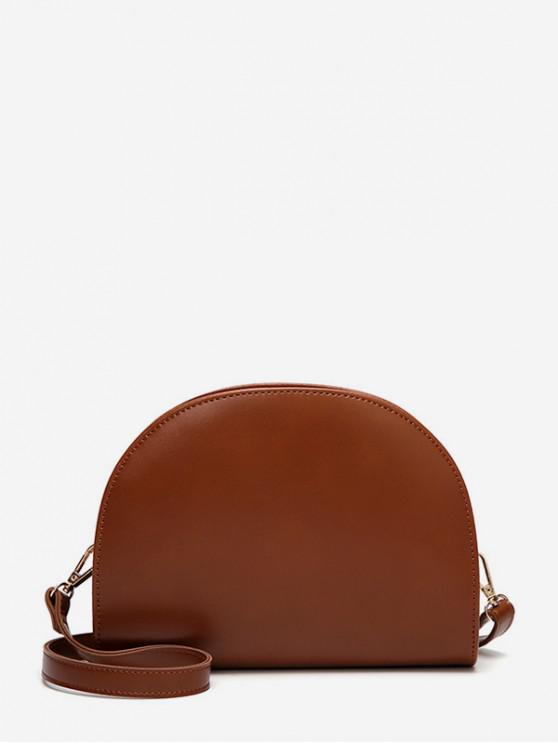 women's Semicircle Glossy Leather Shoulder Bag - BROWN