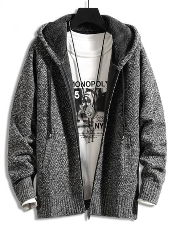 lady Casual Solid Color Zip Up Cardigan - SMOKEY GRAY S