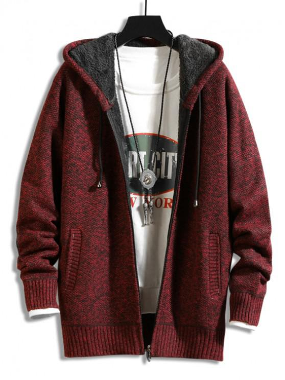 hot Casual Solid Color Zip Up Cardigan - RED WINE S