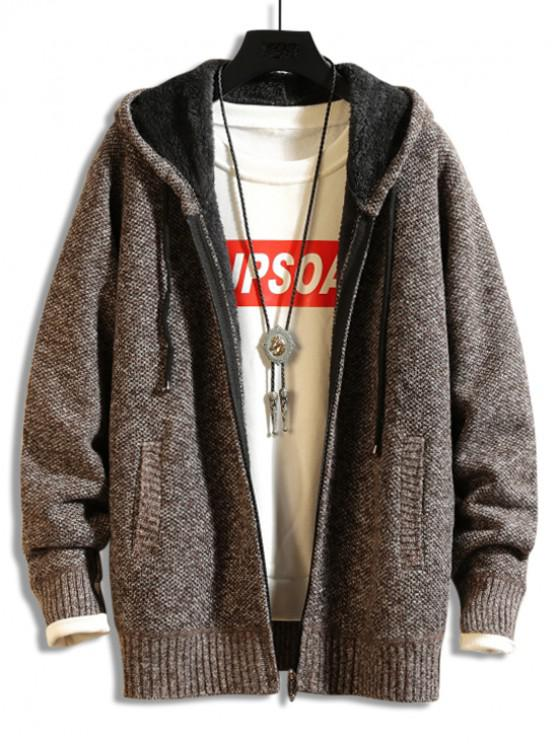 Casual Solid Zip Color Up Cardigan - Cafea XL