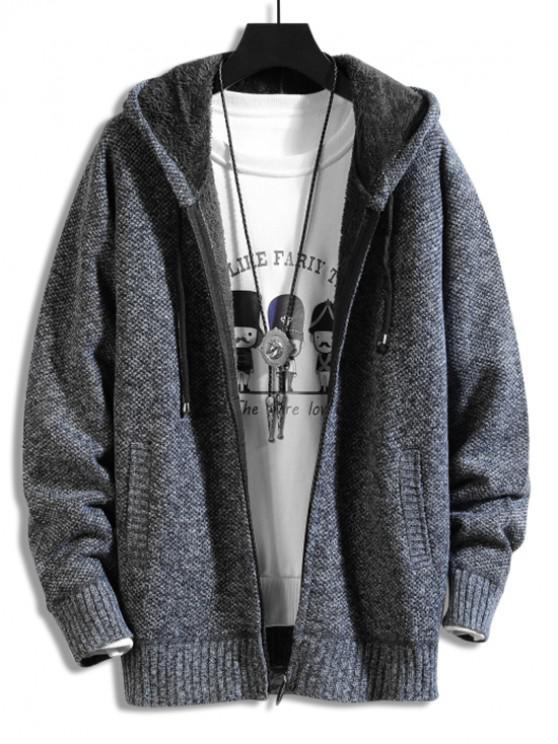 unique Casual Solid Color Zip Up Cardigan - DARK SLATE BLUE L
