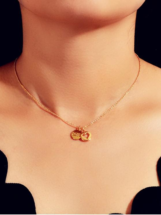 latest Heart Letter Round Pendant Necklace - GOLD