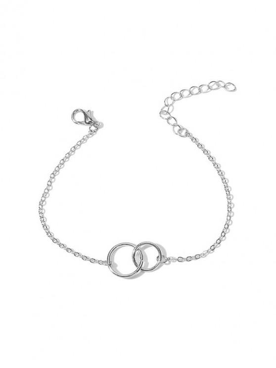 fancy Brief Double Circle Chain Bracelet - SILVER