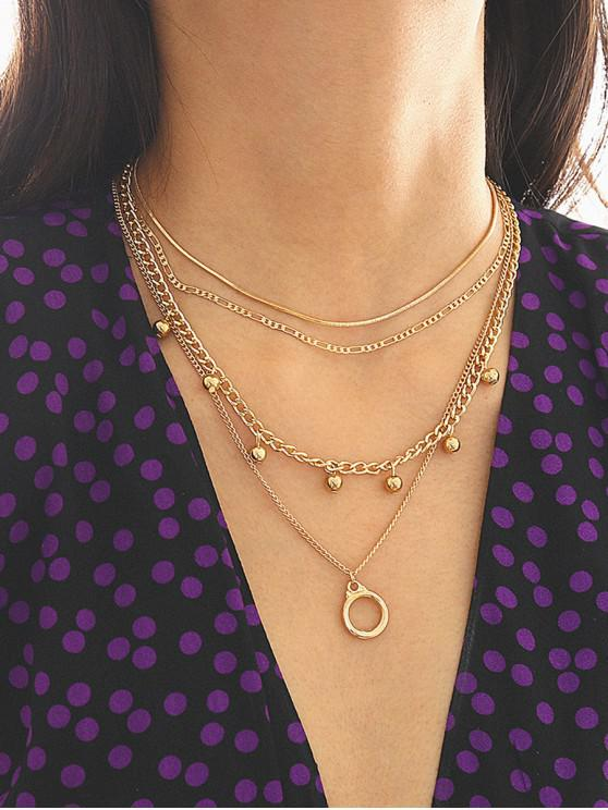 lady Multilayered Beads Circle Pendant Necklace - GOLD