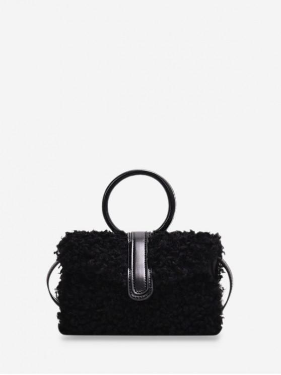 online Furry Plush Ring Handle Shoulder Bag - BLACK
