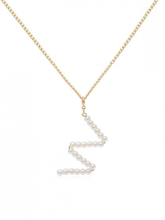 hot Faux Pearl Letter Pendant Necklace - GOLD W