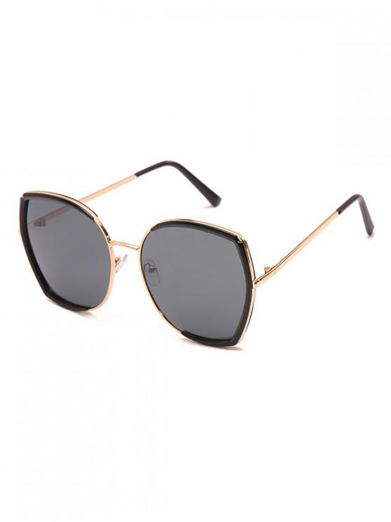 outfits Square Metallic Frame Sunglasses - BLACK