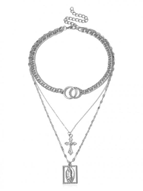 shops Multilayer Jesus Cross Pendant Necklace - SILVER