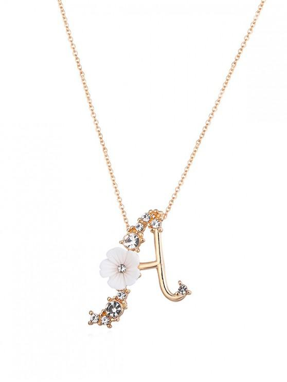 chic Letter Flower Rhinestone Pendant Necklace - GOLD