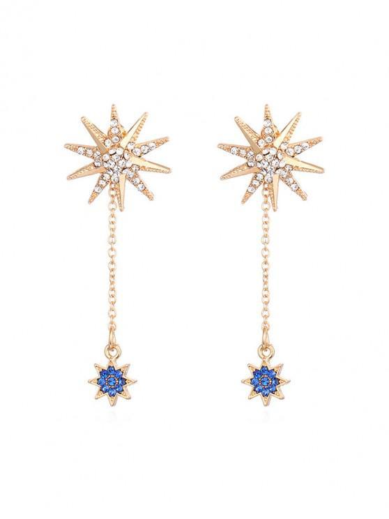 fancy Rhinestone Sunflowers Long Chain Earrings - GOLD