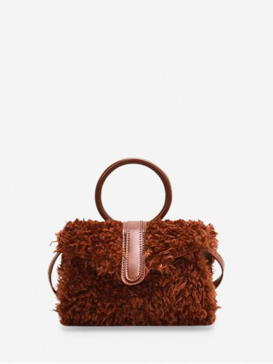 unique Furry Plush Ring Handle Shoulder Bag - BROWN