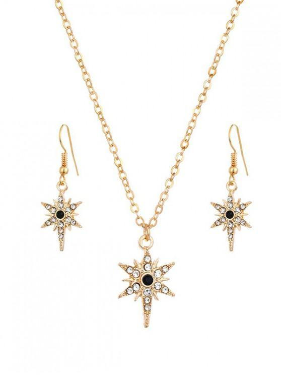 affordable Star Shape Rhinestone Pendant Jewelry Set - GOLD