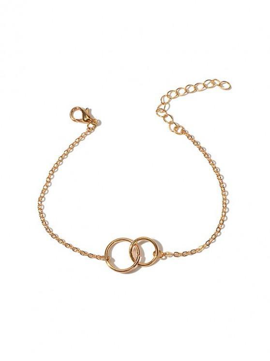 women Brief Double Circle Chain Bracelet - GOLD