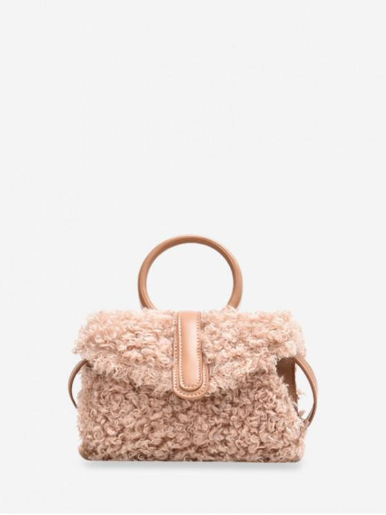 outfit Furry Plush Ring Handle Shoulder Bag - DEEP PEACH