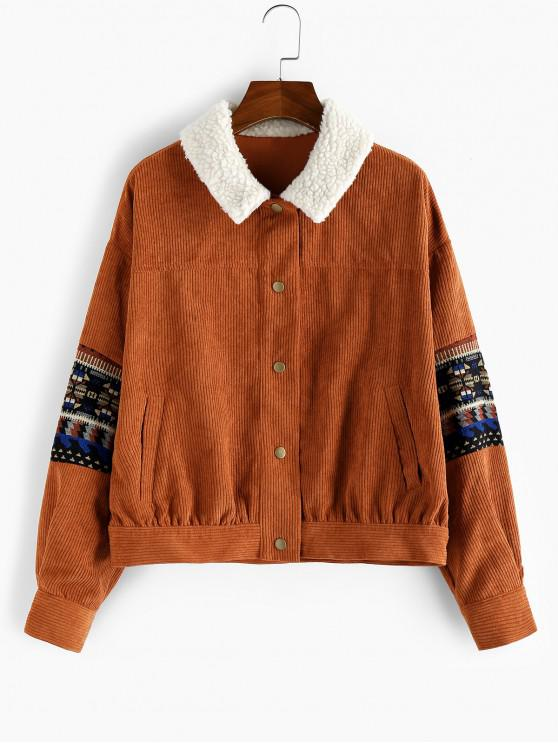 hot ZAFUL Embroidery Faux Fur Corduroy Jacket - RUST S