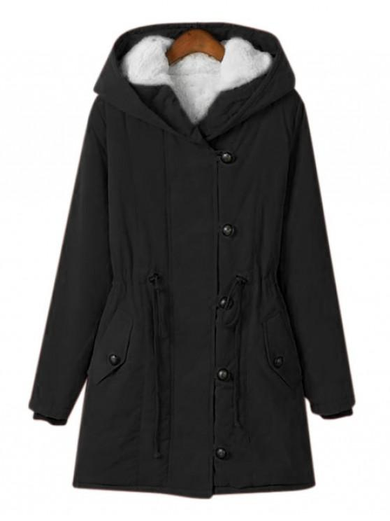 lady Zip Up Hooded Solid Quilted Coat - BLACK XL