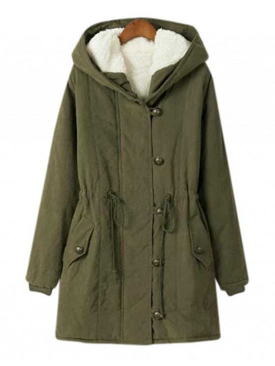 hot Zip Up Hooded Solid Quilted Coat - ARMY GREEN 2XL