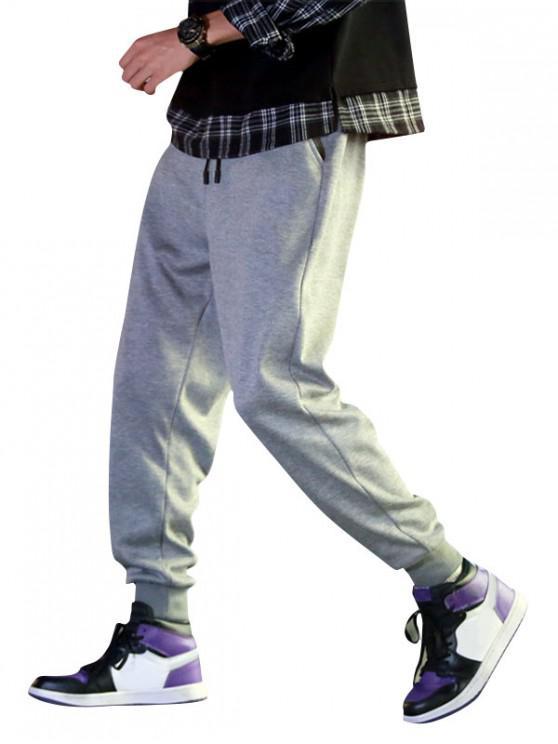 women Solid Color Fuzzy Jogger Pants - GRAY CLOUD M