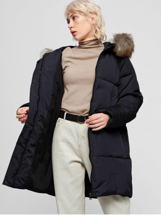 new Faux Fur Collar Hooded Zipper Puffer Parka Coat - BLACK M