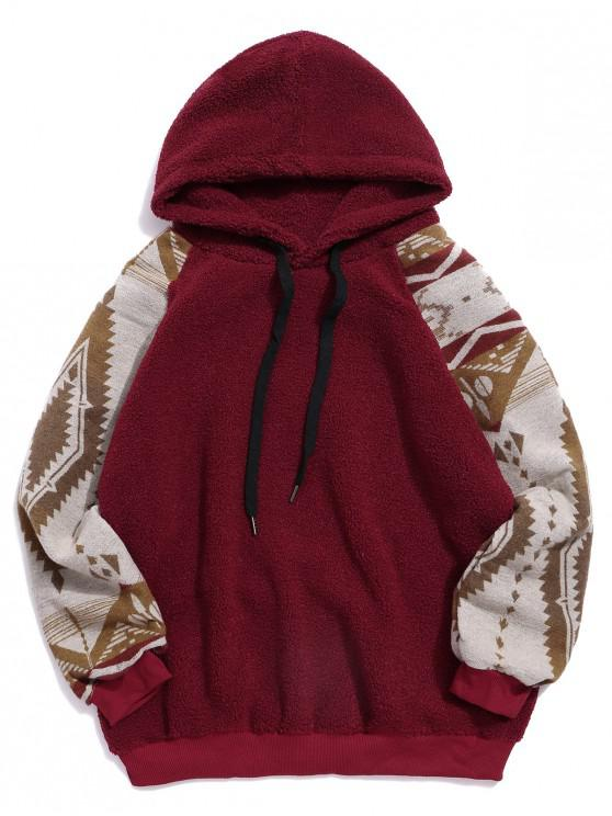 unique Tribal Graphic Print Raglan Sleeve Teddy Hoodie - CHESTNUT RED XL