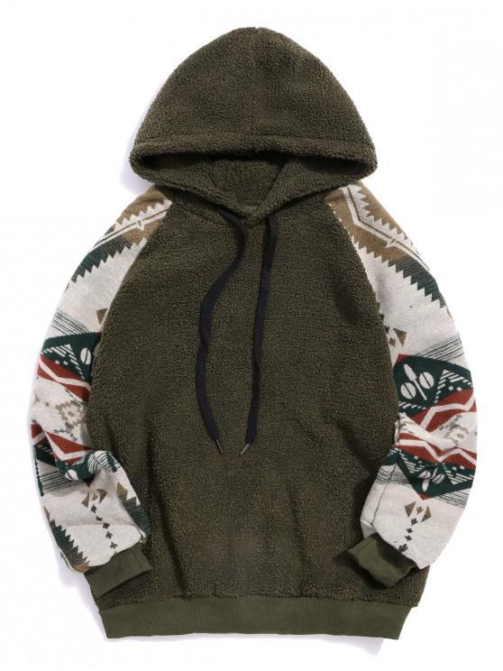 Tribal Graphic Print Raglan Sleeve Teddy Hoodie - Armata verde XL