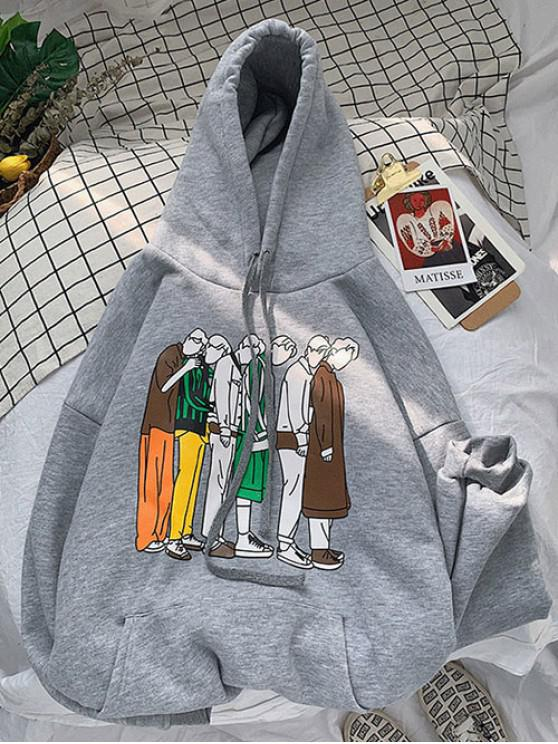 latest Cartoon Graphic Pattern Pocket Hoodie - GRAY CLOUD L