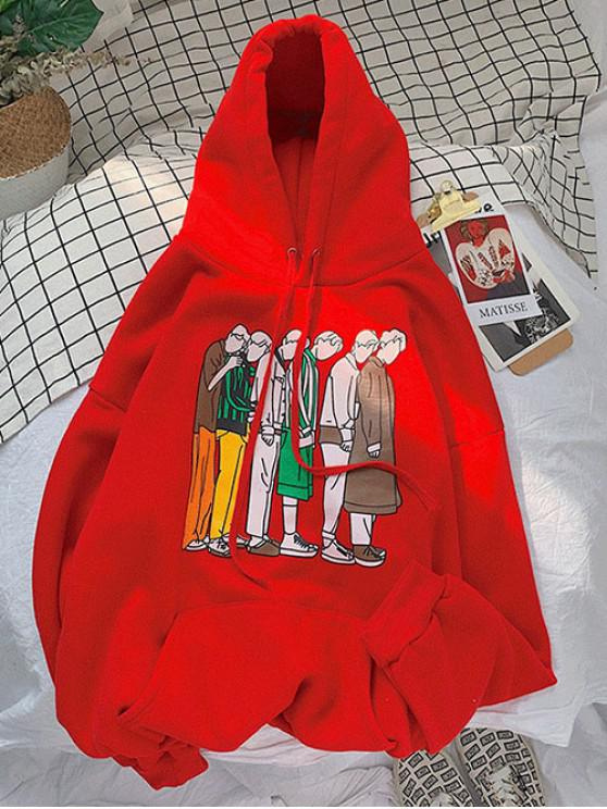 chic Cartoon Graphic Pattern Pocket Hoodie - RUBY RED S