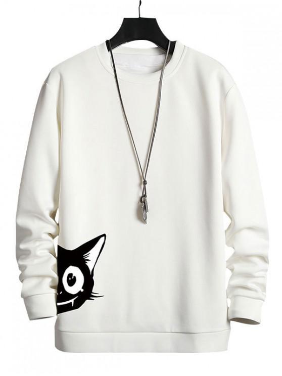 Cartoon Cat Print Sweatshirt Casual - alb XL