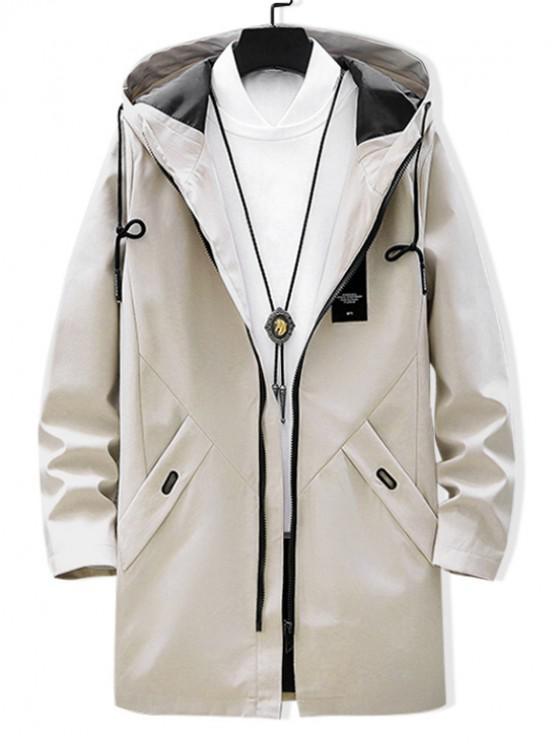 best Solid Applique Drawstring Long Hooded Jacket - LIGHT KHAKI M