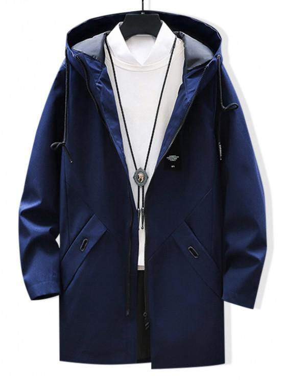 online Solid Applique Drawstring Long Hooded Jacket - CADETBLUE XS