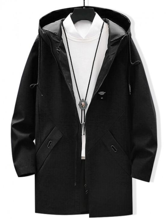 fancy Solid Applique Drawstring Long Hooded Jacket - BLACK M