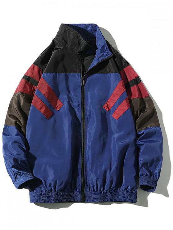 ladies Striped Color Blocking Spliced Raglan Sleeve Jacket - DENIM DARK BLUE 2XL