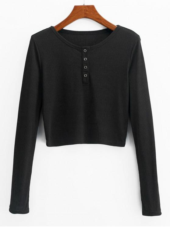 chic ZAFUL Henley Cropped Knit Tee - BLACK M