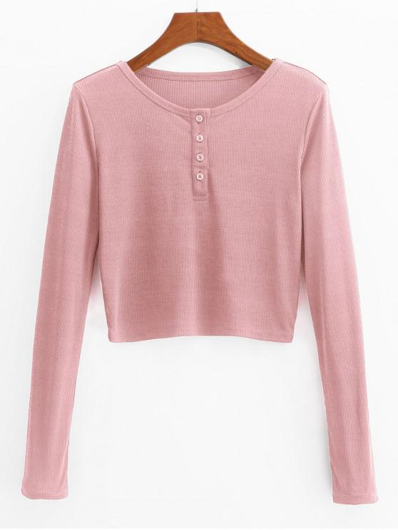 women ZAFUL Henley Cropped Knit Tee - PINK L