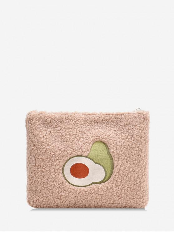 women's Square Chain Plush Avocado Messenger Bag - KHAKI