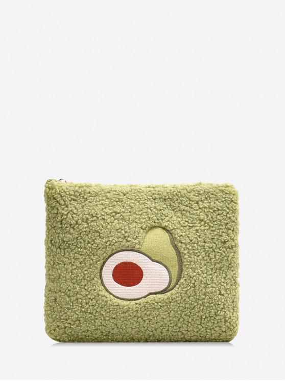 trendy Square Chain Plush Avocado Messenger Bag - YELLOW GREEN