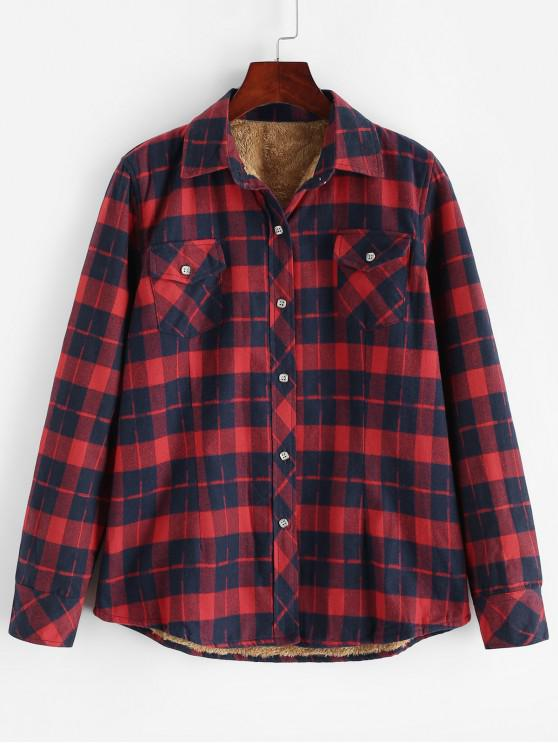 unique Buttoned Plaid Fleece Lined Shirt - MULTI-E L