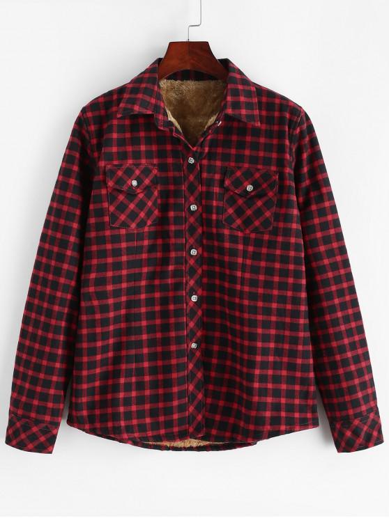 fancy Buttoned Plaid Fleece Lined Shirt - MULTI-B M